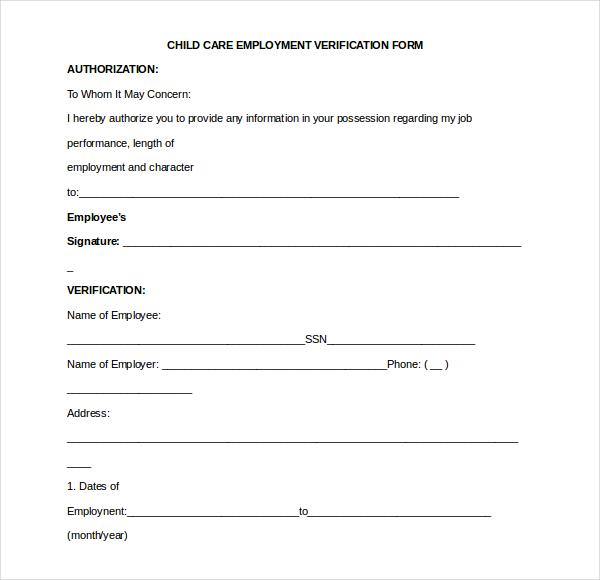 employment verification form sample – Verification of Employment Form