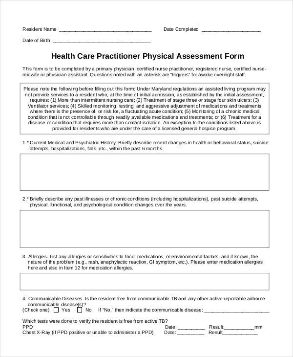 Sample Physical Assessment Forms   8+ Free Documents In Pdf, Word, Skeleton
