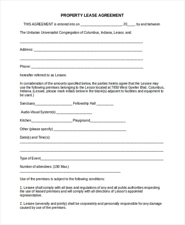 Property Lease Agreement Template Free