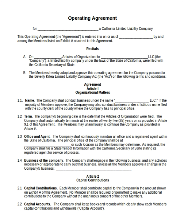 Sample Operating Agreement Template