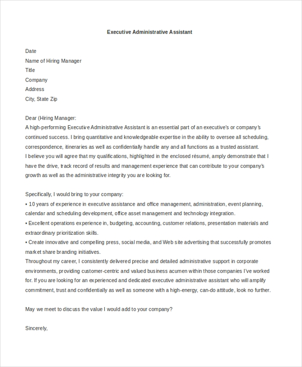 sample job application cover letter for administrative executive
