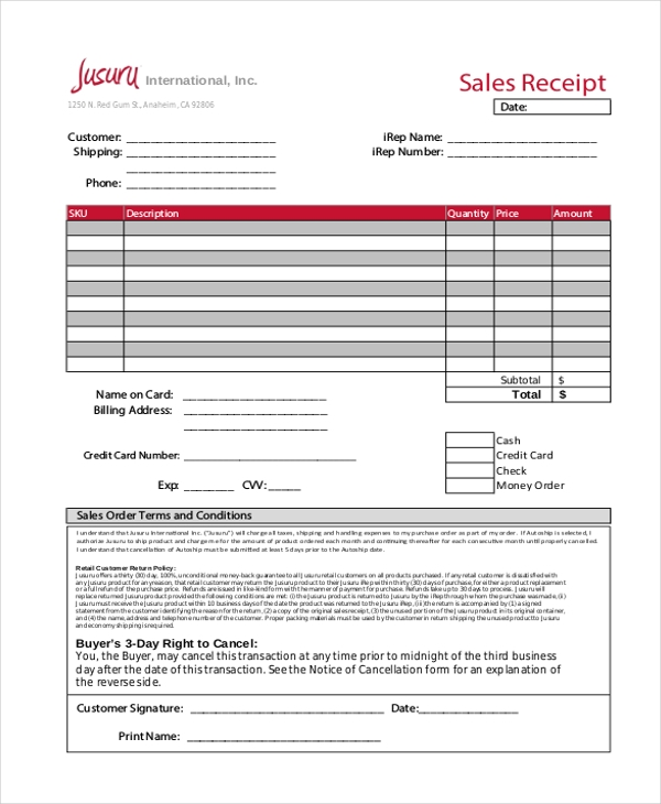Sales Receipt Template Excel