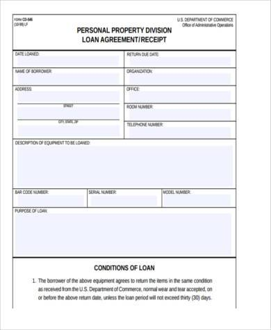personal loan agreement form samples 8+ free documents