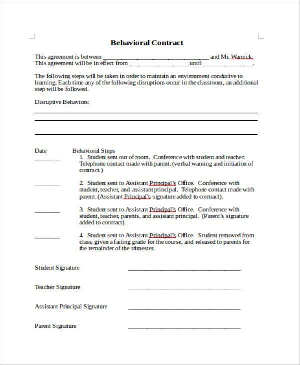 behavior contract template | datariouruguay