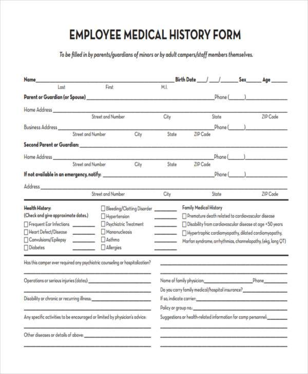 sample health history form sarp potanist co