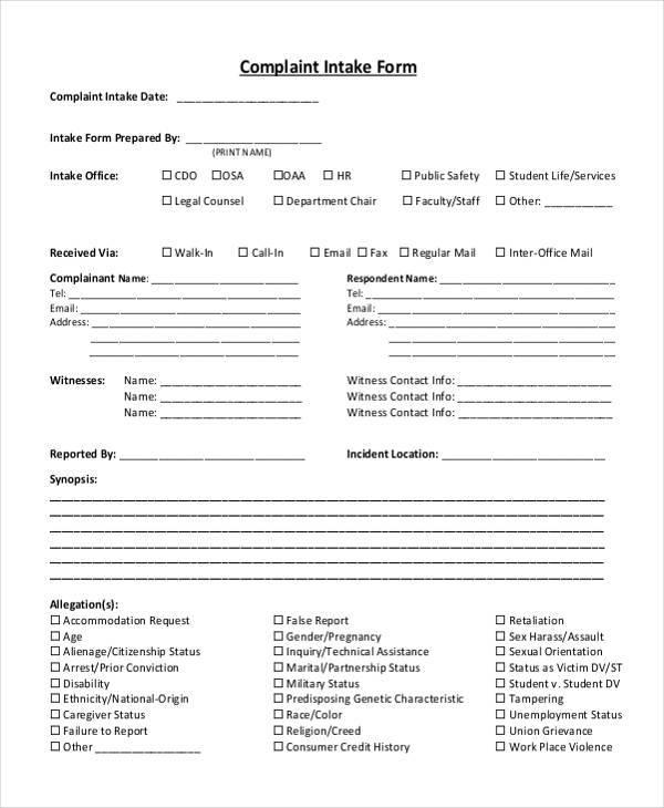 employment intake form