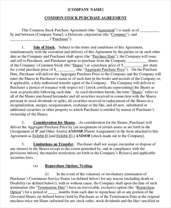 sample stock purchase agreement template