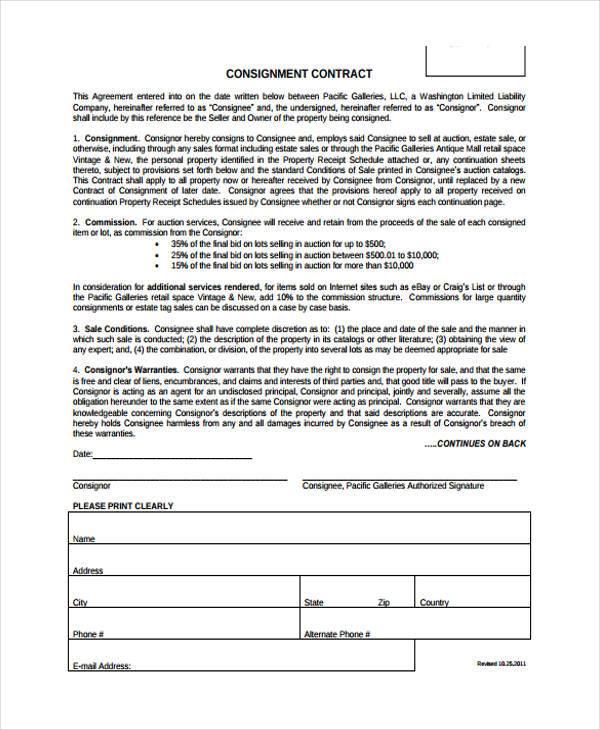 Free Consignment Agreement Goods Findformscom Mandegarfo