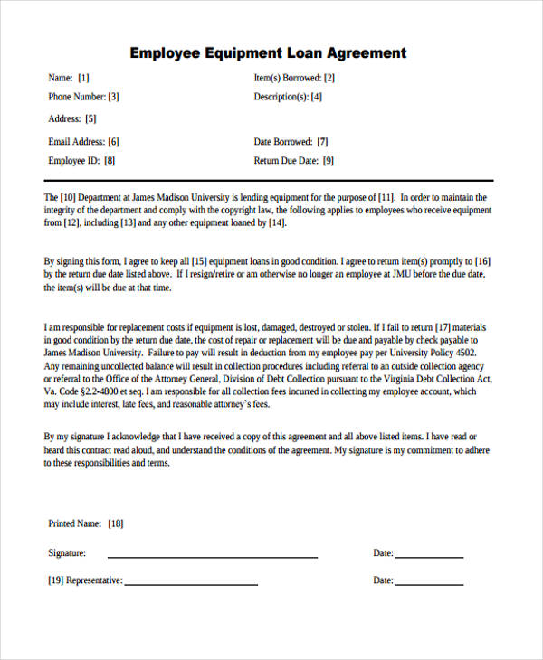 Equipment Loan Agreement Template