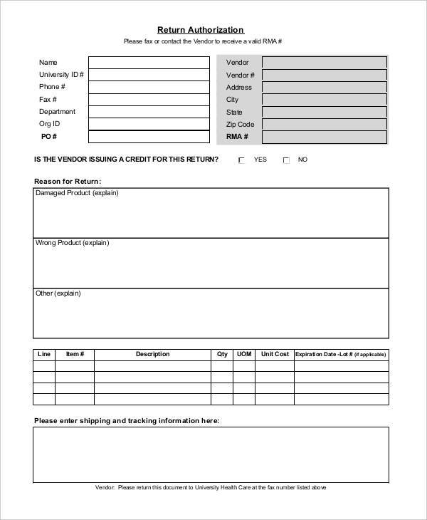 template return authorization template credit card form