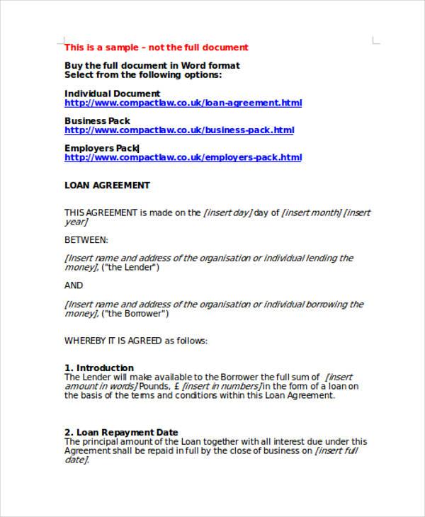 Money Lending Agreement Template