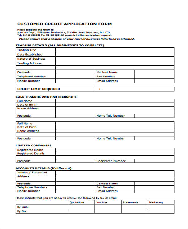 credit application forms small business free forms
