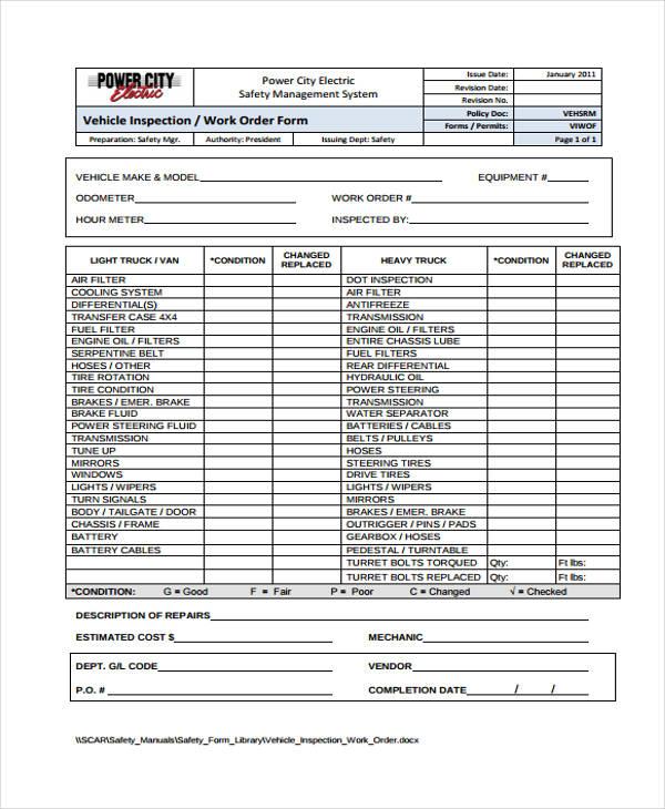 work order sheet sample