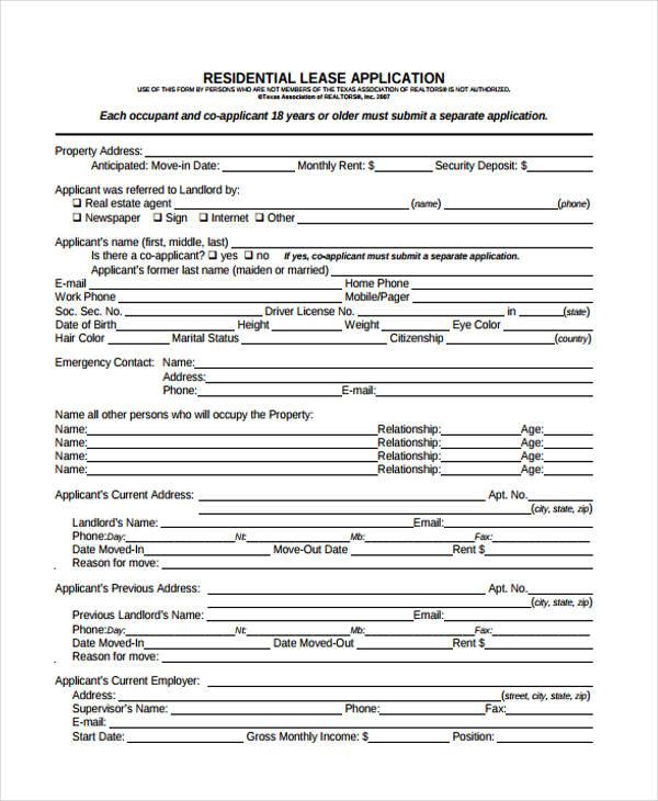 sample lease application