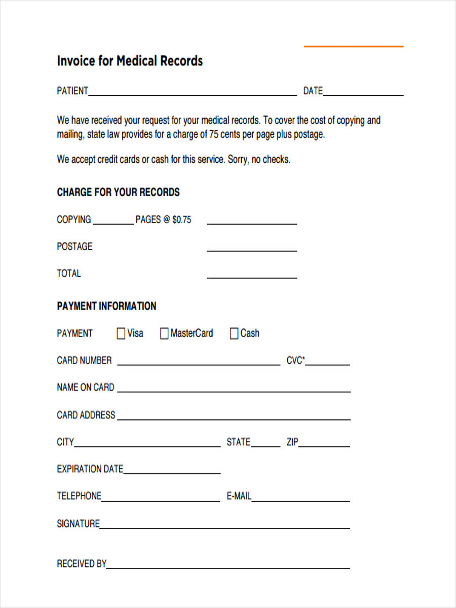 free medical records invoice template  5  Medical Invoice Form Samples - Free Sample, Example Format Download