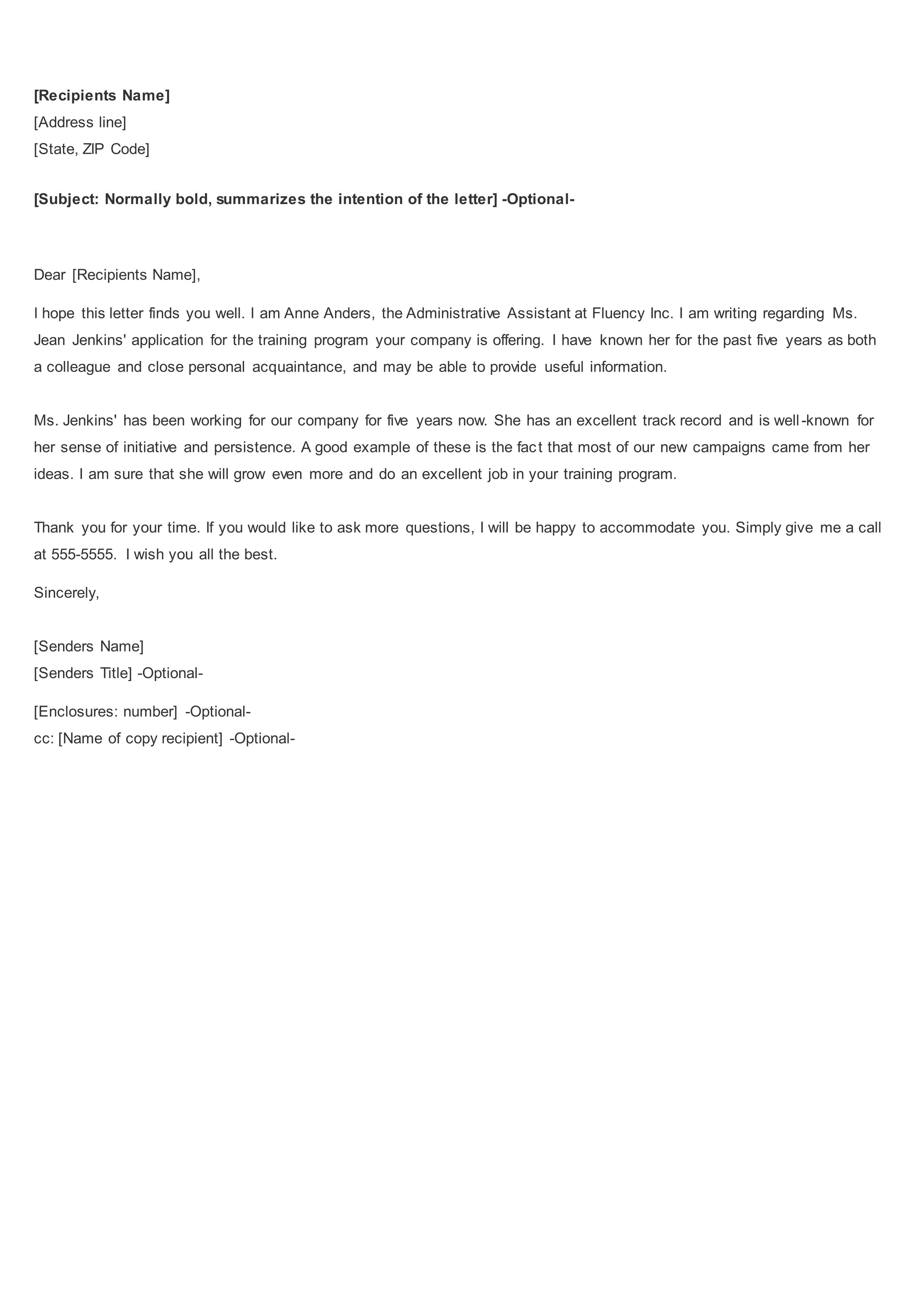 reference letter for it employee