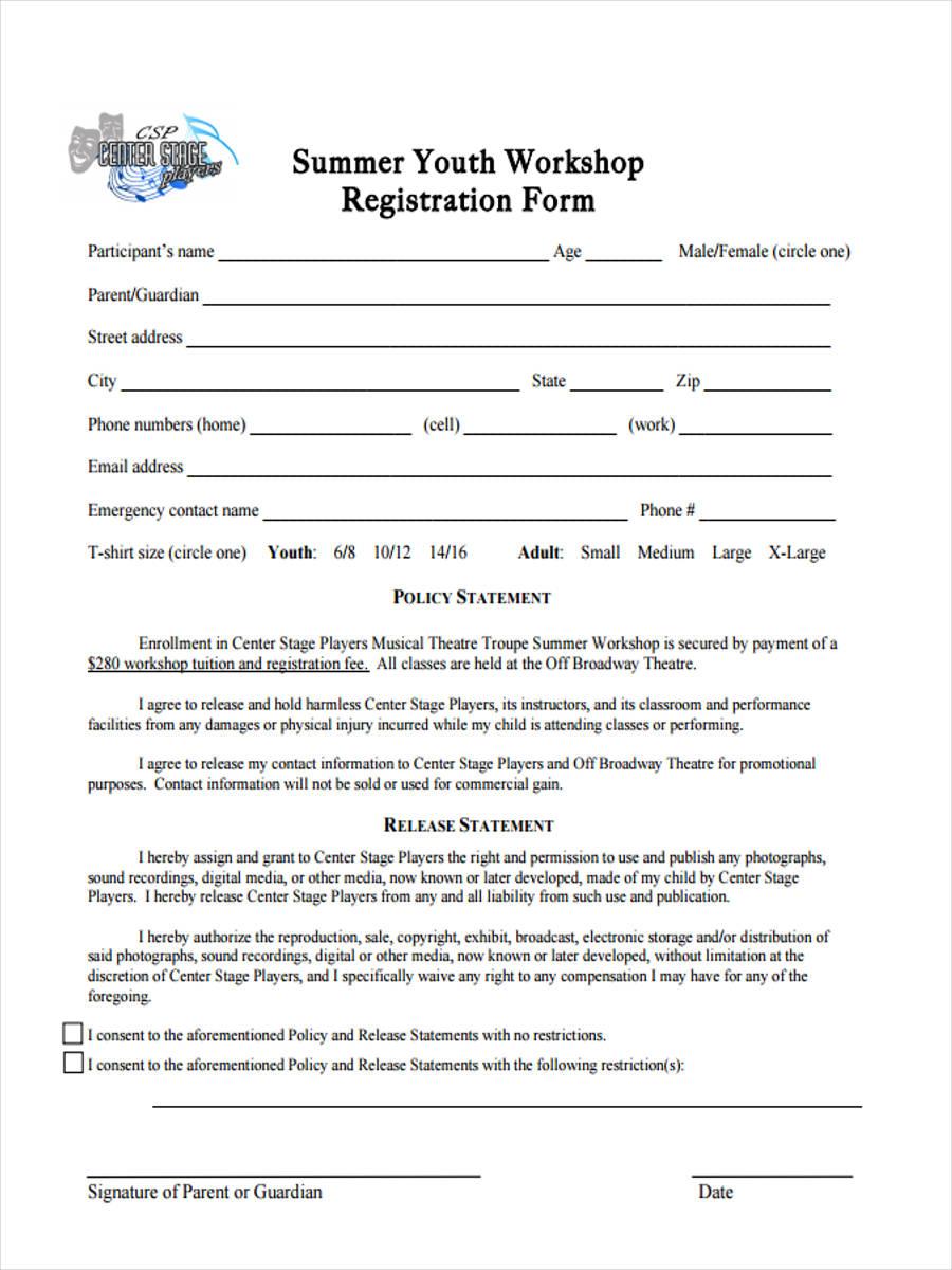 Workshop registration form template trattorialeondoro workshop registration form template maxwellsz