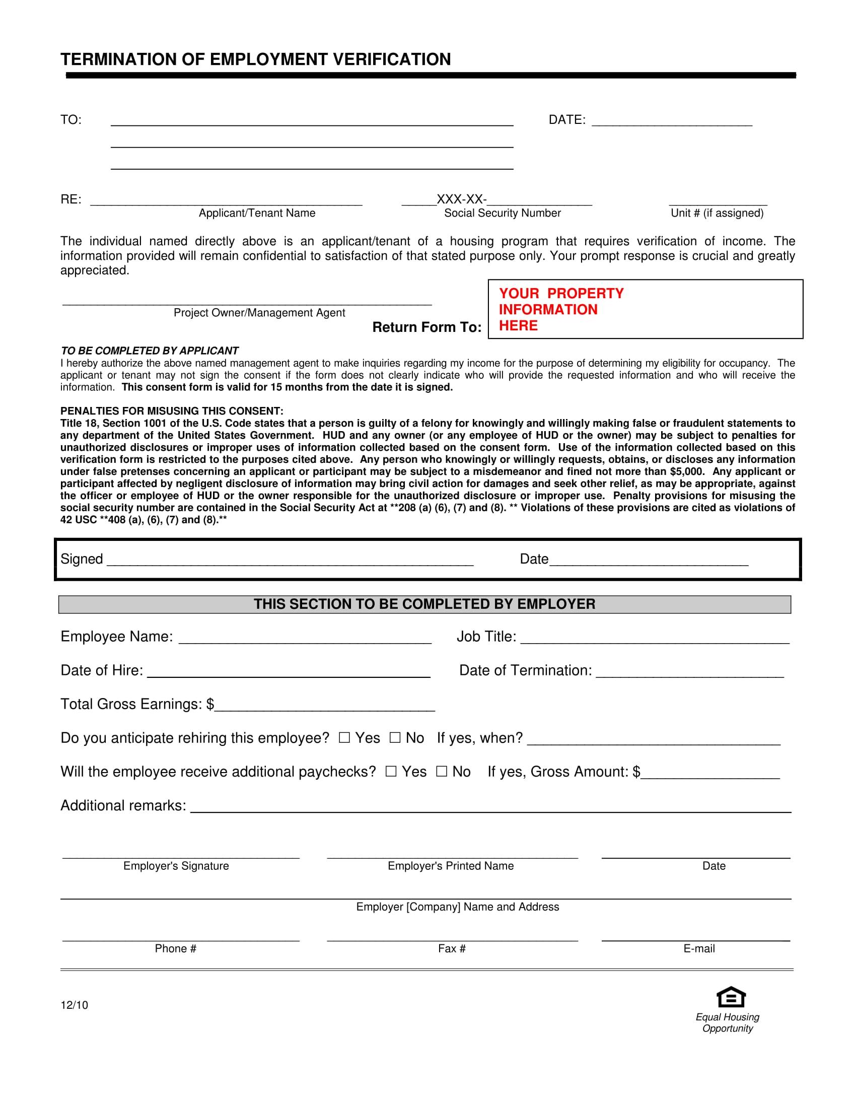 Separation Certificate Template