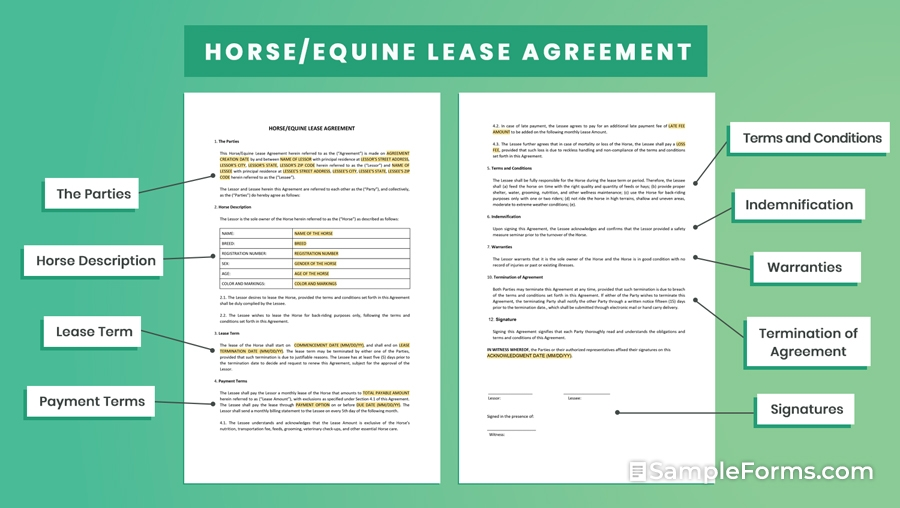 HORSE EQUINE LEASE AGREEMENT