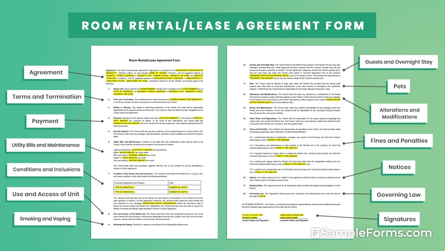 Room RentalLease Agreement Form