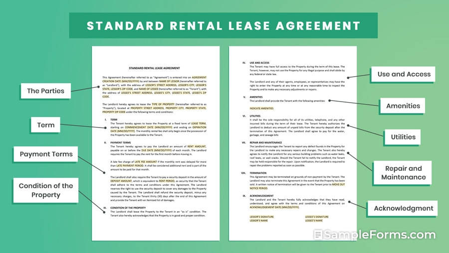 STANDARD RENTAL LEASE AGREEMENT