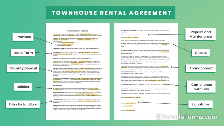 TOWNHOUSE RENTAL AGREEMENT