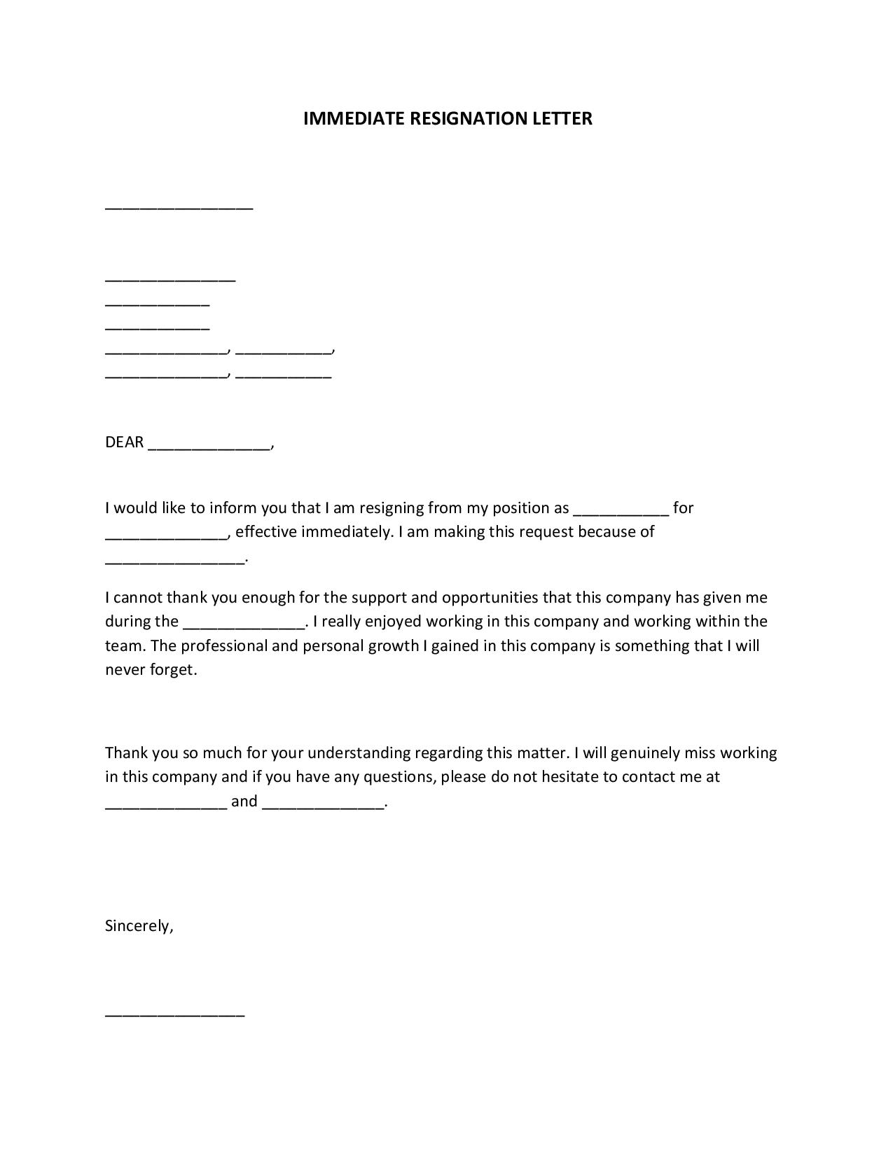 Immediate Resignation Letter For Personal Reasons from images.sampleforms.com