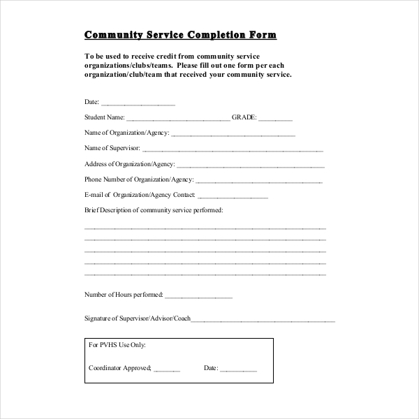 volunteer verification form template 12  Sample Community Service Forms | Sample Forms