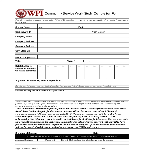 community service completion 12 sample community service forms sample forms 16255 | Community Service Work Study Completion Form