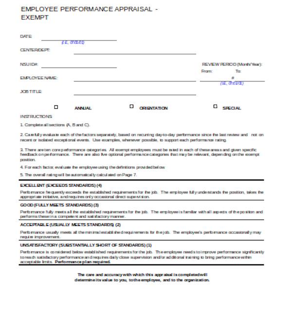 employee performance appraisal form1