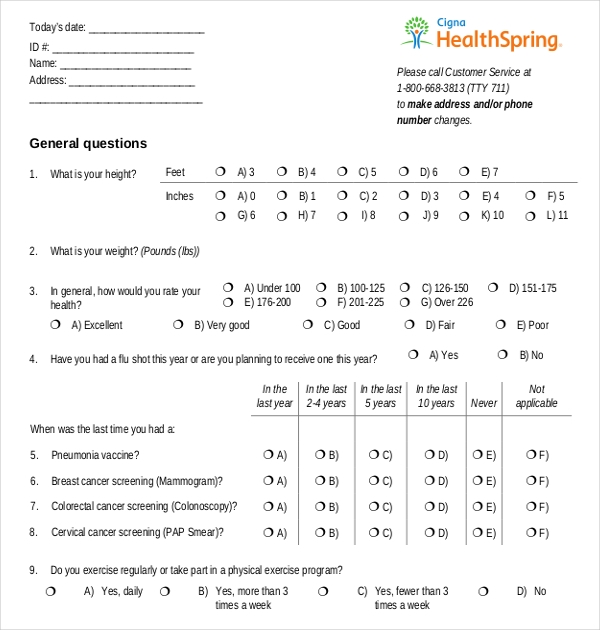 Sample Health Risk Assessment Forms  Sample Forms