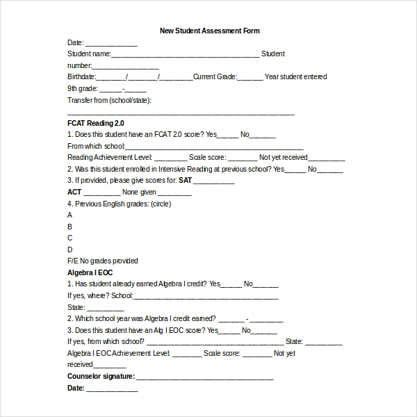 Sample Student Assessment Forms 12 Free Documents in PDF Word – Sample Student Evaluation Forms