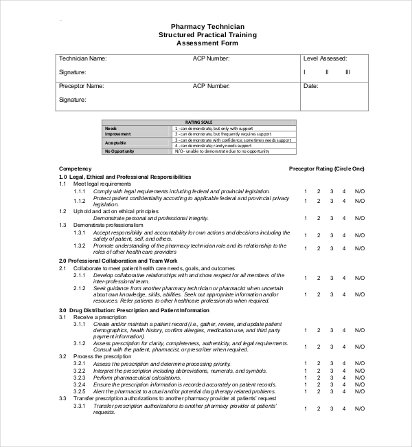 practical training assessment form