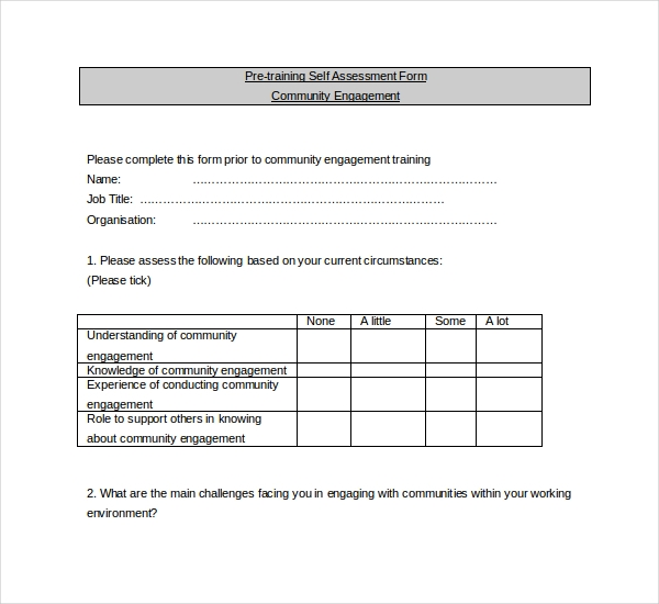 Sample Training Assessment Forms 9 Free Documents in PDF Word