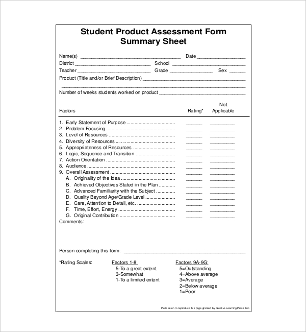 Sample Student Assessment Forms   Free Documents In Pdf Word