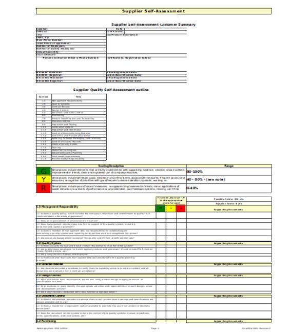 supplier self assessment form