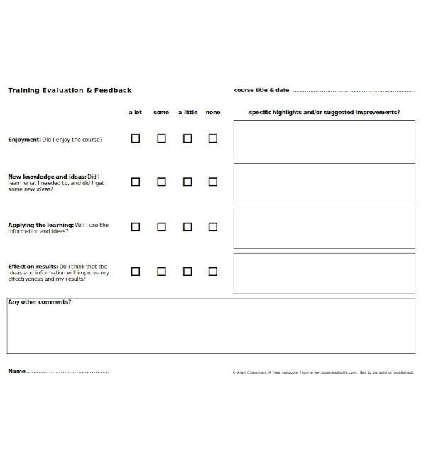 training evaluation and feedback form