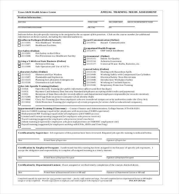 training needs assessment form