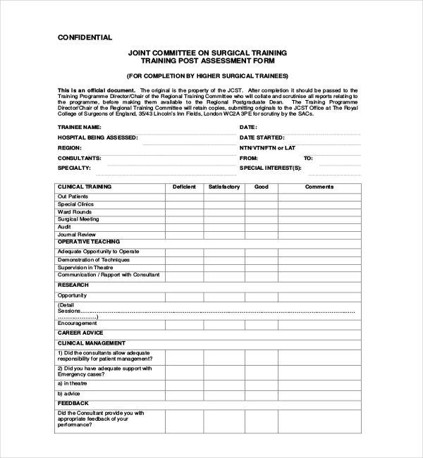 Sample Training Assessment Forms   Free Documents In Pdf Word