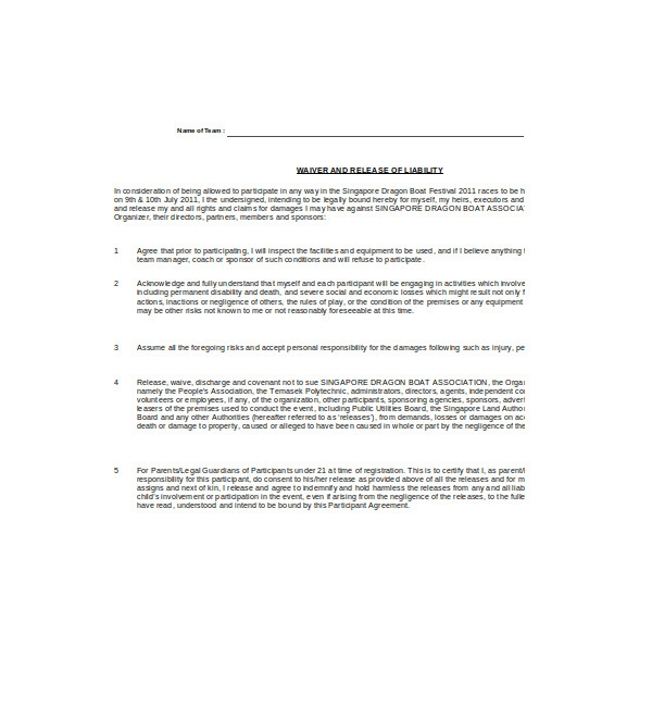 waiver and liability release form