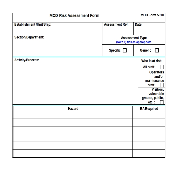12 sample health risk assessment forms sample forms for Security guard risk assessment template