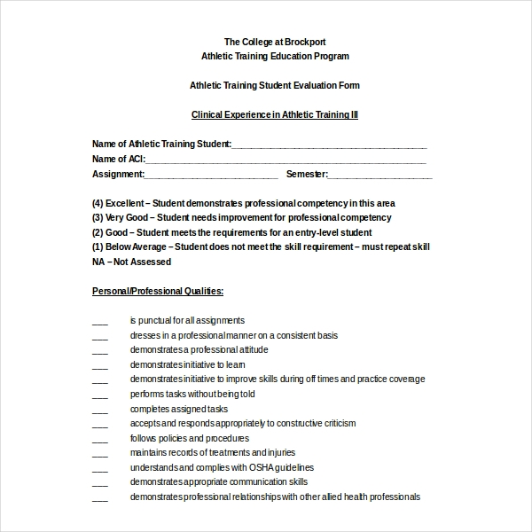 Amazing Sample Training Evaluation Forms Sample Forms