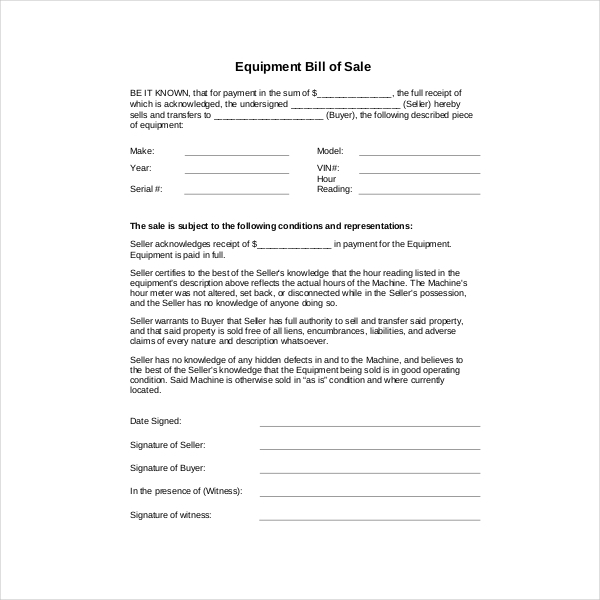 blank bill of sale form for equipment