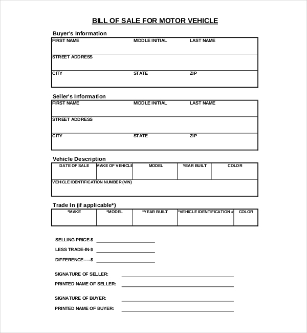 10 Sample Blank Bill of Sale Forms – Motorcycle Bill of Sales