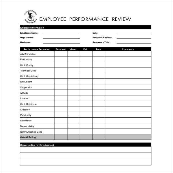 Employee Review Form Template | 10 Sample Employee Appraisal Forms Free Sample Example Format