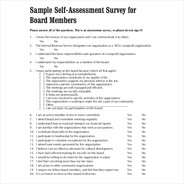 Sample Self Assessment Forms Sample Forms