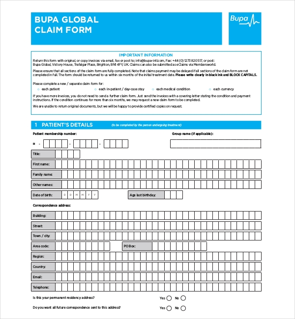 bupa medical claim form