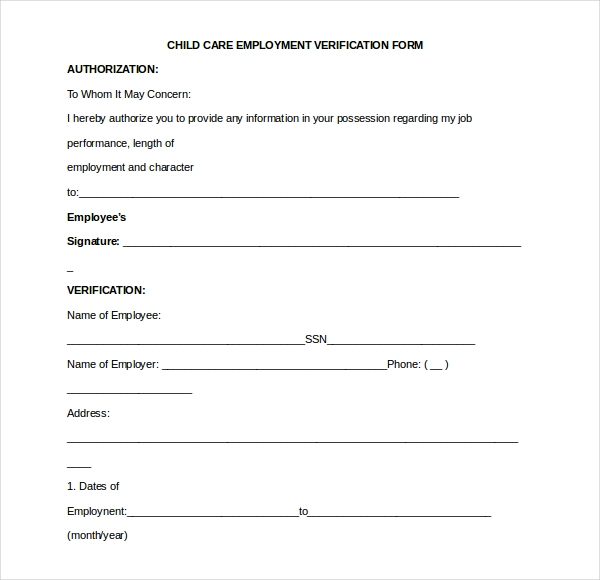 Perfect Child Care Employment Verification Form  Landlord Employment Verification Form