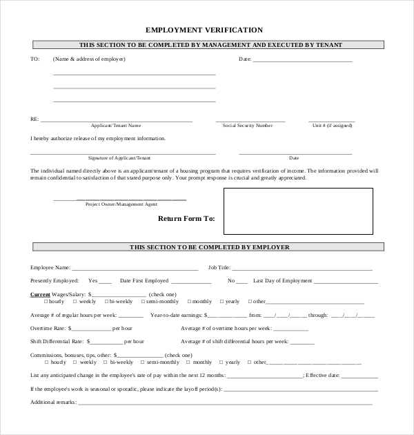 Sample Employment Verification Forms  Sample Forms