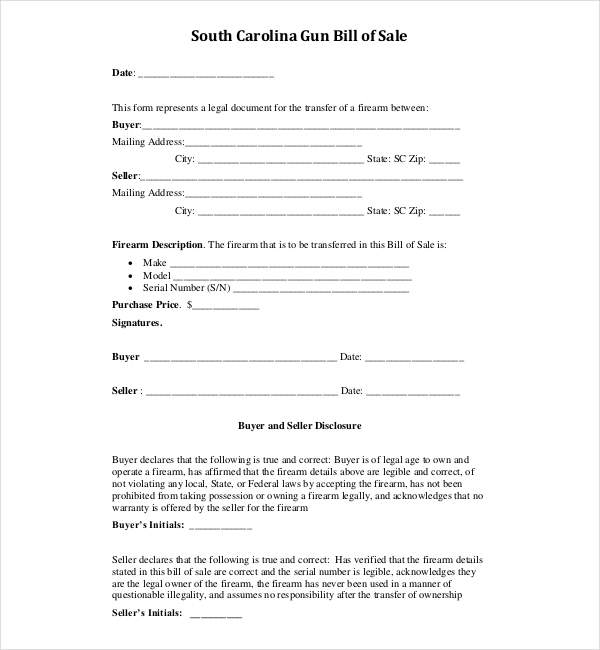 Sample Bill Of Sale For Firearms  Sample Forms
